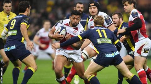 Charles Piutau tries to make ground for Ulster as Clermont double try scorer Nick Abendanon closes in