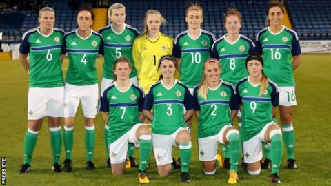 The Northern Ireland women's team that started against the Republic of Ireland last September