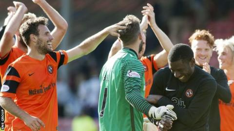 Cammy Bell is congratulated by his Dundee United team-mates at full time