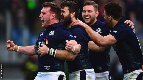 (from left) Stuart Hogg, Tommy Seymour, Finn Russell and Duncan Taylor celebrate Seymour's clinching try against Italy