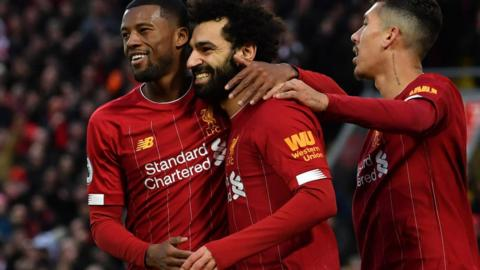 Liverpool players celebrating
