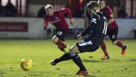 Cammy Smith scores a penalty for St Mirren against Brechin City