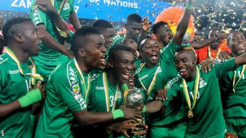 Zambia Under-20s celebrate with the Africa Cup of Nations trophy