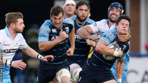 Cardiff Blues scrum-half Lloyd Williams in action against Glasgow