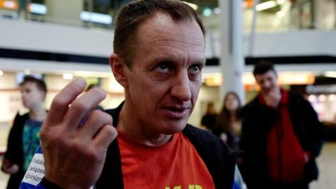 Denis Urubko speaks before the departure of the Polish national team for the expedition to scale K2 in the winter, at an airport in Warsaw, Poland, 29 December 2017