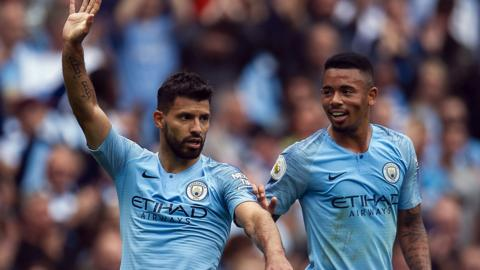 Manchester City;s Sergio Aguero and Gabriel Jesus celebrate