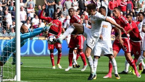 Federico Fernandez almost claimed a second Swansea goal but was denied by Watford goalkeeper Heurelho Gomes