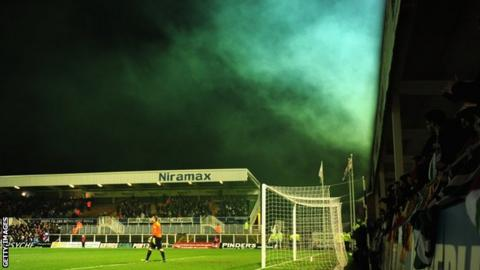 Fans let off a smoke flare at Hartlepool United