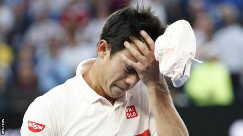 Kei Nishikori walks off dejected