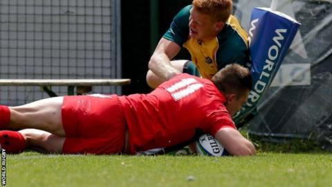 Josh Adams scores for Wales Under-20 against Australia