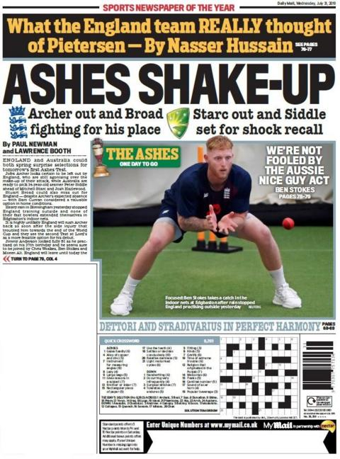 Mail back page on Wednesday
