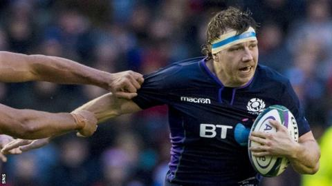 Hamish Watson carries the ball for Scotland against Argentina