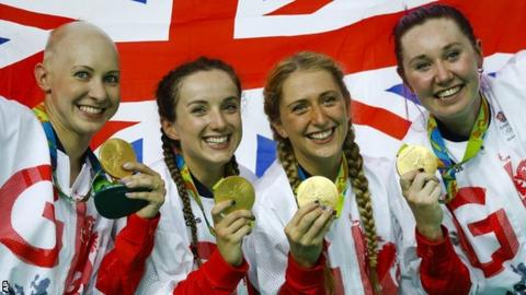 Elinor Barker (second left) was part of Britain's gold-medal winning team pursuit line-up in Rio