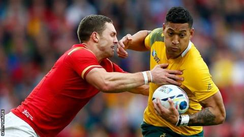 Israel Folau in action against Wales