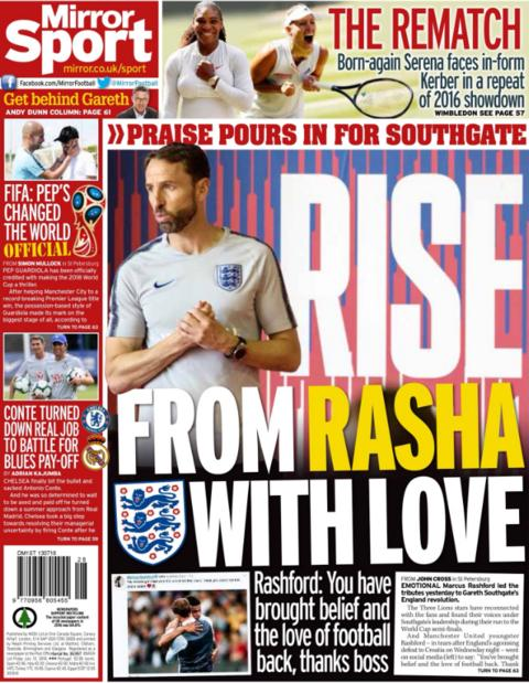 The Mirror lead on Marcus Rashford's complimentary message on Twitter about England boss Gareth Southgate