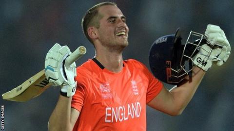 England's Alex Hales celebrates reaching his century against Sri Lanka
