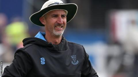 Sussex head coach Jason Gillespie on the sidelines at Hove