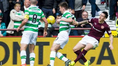 Jamie Walker goes to ground to win the penalty from which Hearts equalised