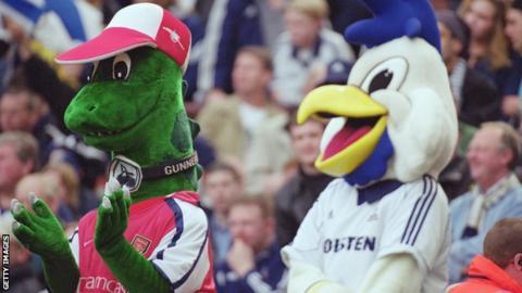 Arsenal and Tottenham mascots