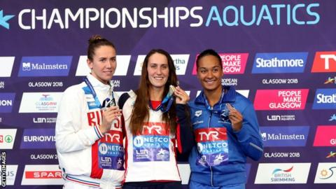 Bronze medalist, Mimosa Jallow of Finland, Silver medalist, Anastasiia Fesikova of Russia, and Gold medalist Georgia Davies of Great Britain pose with their medals following the Women's 50m Backstroke final