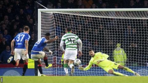 Alfredo Morelos has a penalty saved by Fraser Forster