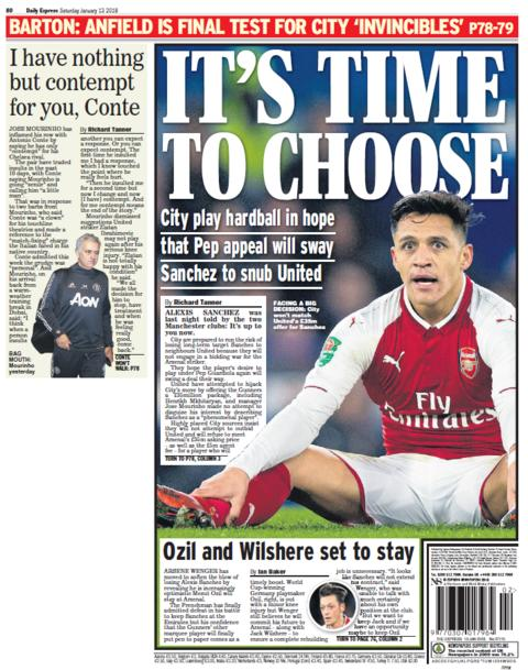 The Daily Express back page on Saturday