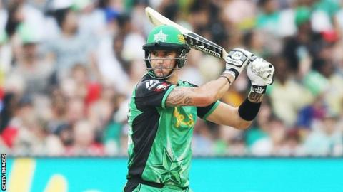 Former England batsman Kevin Pietersen plays a shot while playing for Melbourne Stars