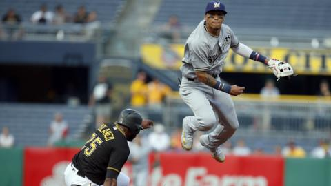 PITTSBURGH, PA - JUNE 18: Orlando Arcia #3 of the Milwaukee Brewers turns a double play in the second inning against Gregory Polanco #25 of the Pittsburgh Pirates at PNC Park on June 18, 2018 in Pittsburgh, Pennsylvania. (Photo by Justin K. Aller/Getty Images)