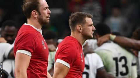 Dan Biggar walks off after being hurt in Wales's World Cup match against Fiji