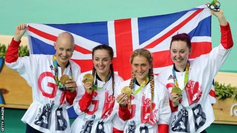 Britain's team pursuit squad celebrate winning gold at the 2016 Olympics