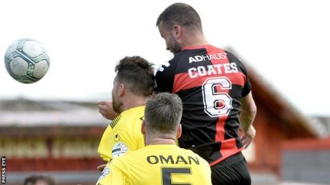 Colin Coates rises highest to head Crusaders' winner against Portadown