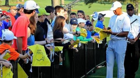 Tiger Woods signing autographs at Augusta