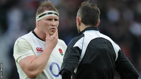 England captain Dylan Hartley and referee Romain Poite discuss Italy's controversial 'no-ruck' tactic during the 2017 Six Nations match at Twickenham