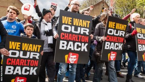 Charlton supporters protest