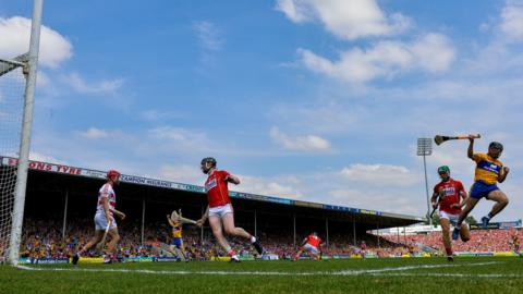 Tipperary , Ireland - 1 July 2018; David Reidy of Clare celebrates after scoring his side's first goal during the Munster GAA Hurling Senior Championship Final match between Cork and Clare at Semple Stadium in Thurles, Tipperary. (Photo By David Fitzgerald/Sportsfile via Getty Images)