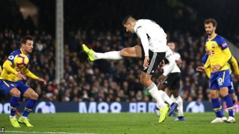 Aleksandar Mitrovic scores his second goal against Southampton