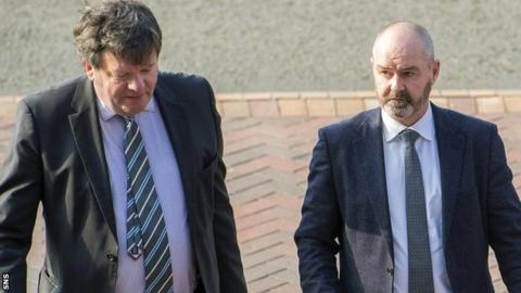 Steve Clarke arrived at Hampden with his lawyer just before 09:00 BST