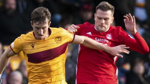 Motherwell's Christopher Long with Aberdeen's Mikey Devlin