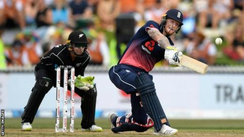 Ben Stokes top-edges a sweep to be caught for 12