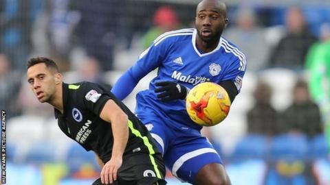 Cardiff's Sol Bamba in action against Brighton