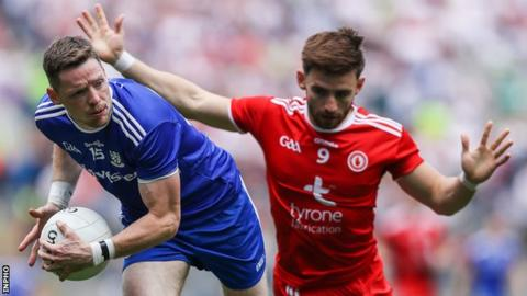 Monaghan's Conor McManus attempts to get away from Tyrone's Padraig Hampsey in this year's All-Ireland semi-final