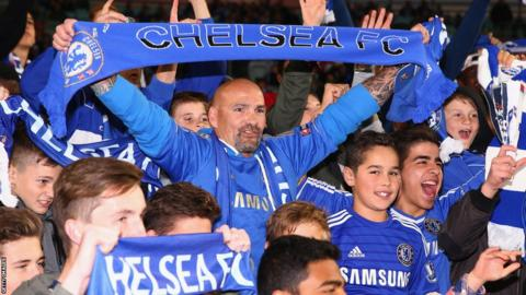 Chelsea fans at an international friendly match between Sydney FC and Chelsea