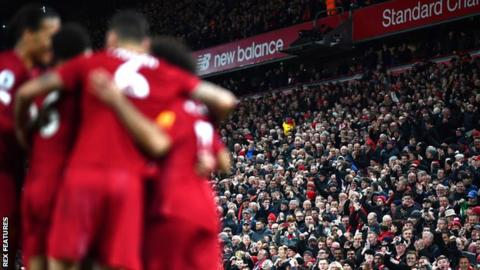 Liverpool celebrate in front of their fans
