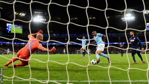 Gabriel Jesus scores Manchester City's second goal against Napoli