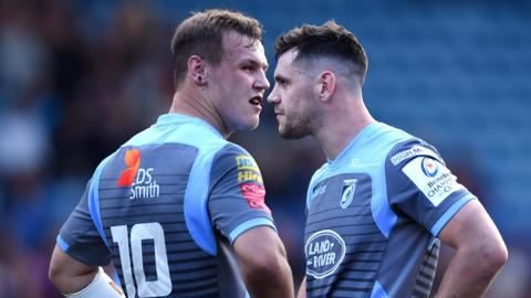 arrod Evans and Tomos Williams of Cardiff Blues