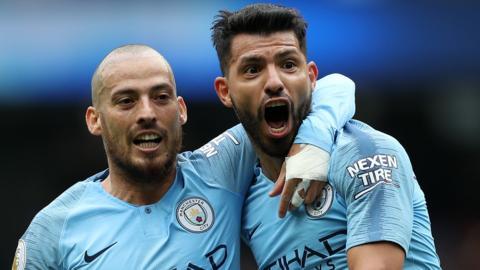 David Silva and Sergio Aguero celebrate against Huddersfield