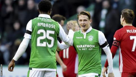Hibernian beat Aberdeen 2-0 at Easter Road in February