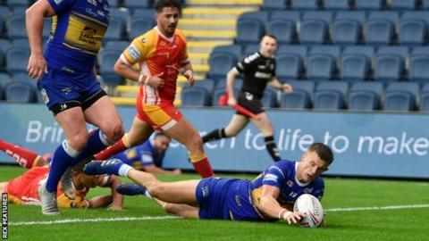 Leeds winger Ash Handley's two tries took his haul for the season to 19 - just two behind the league's top scorer Niall Evalds