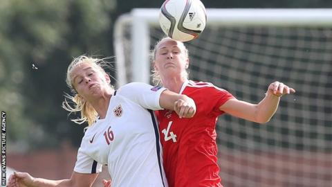 Wales' Angharad Roberts in action against Norway