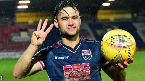 Alex Schalk poses with the match ball after scoring a hat-trick for Ross County against Partick Thistle